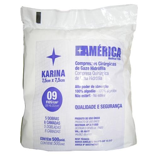 Compressas Cirúrgicas de Gaze 7,5 x 7,5cm Karina 500unid. 270g