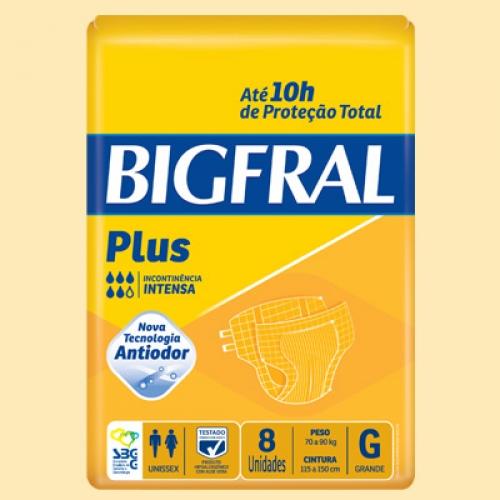 Fralda Geriátrica BigFral Plus G 8 Unidades