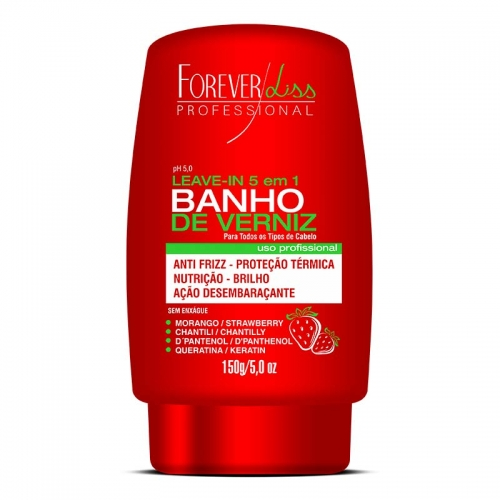 Leave-In Banho de Verniz 5 em 1 Morango Forever Liss 150g