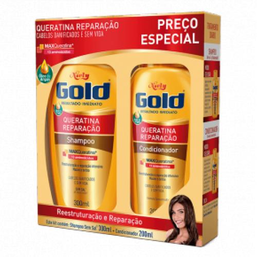 Kit Niely Gold Queratina Reparação Shampoo 300ml+Condicinador 200ml