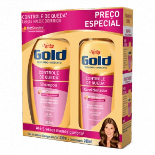 Kit Niely Gold Controle de Queda Shampoo 300ml+Condicinador 200ml