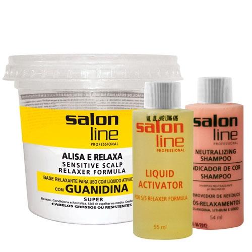 Kit Salon Line Alisa e Relaxa Guanidina Cabelos Grossos ou Resistentes