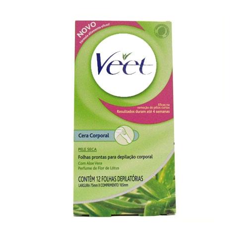 Folhas Prontas para Depilação Veet para peles Secas com 12Unid