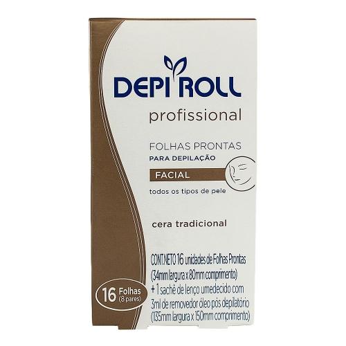 Folhas Prontas para Depilação Depi Roll Profissional Facial com 16 Unid