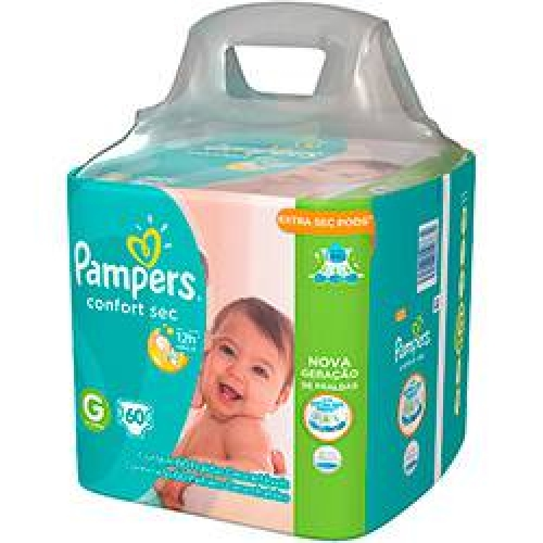 Fralda PAMPERS Confort Sec G Super Pack - 60 Unidades