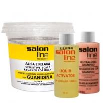 Kit Salon Line Alisa e Relaxa Guanidina Cabelos Grossos ou Resistentes 215g